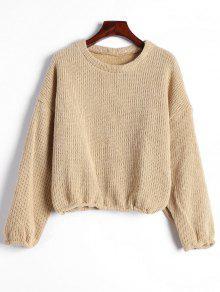 Drop Shoulder Plain Pullover Sweater - Khaki S