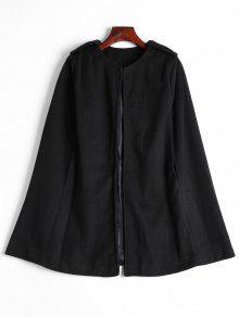 Plain Cape Coat - Black L