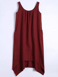 U Neck Sleeveless Asymmetric Dress - Deep Red M