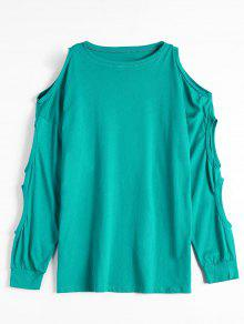 Cold Shoulder Cut Out Plain Tee - Lake Green