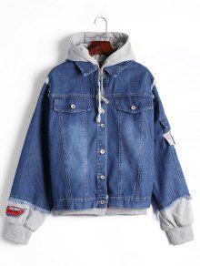 Ripped Patched Hoode Denim Jacket - Denim Blue L
