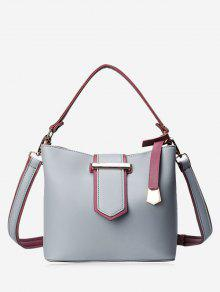 Colour Block Metal Embellished Tote Bag - Gray