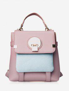 Color Block Metal Embellished Backpack - Pink