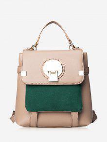 Color Block Metal Embellished Backpack - Khaki