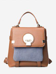 Color Block Metal Embellished Backpack - Brown