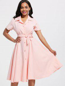 636ec031ad0f 25% OFF] 2019 Short Sleeve Button Up Maxi Shirt Dress In PINK | ZAFUL
