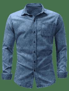 M Denim De Blanqueado Con Camisero Bolsillo Cuello Camisa De Cambray Azul Efecto apwqfP
