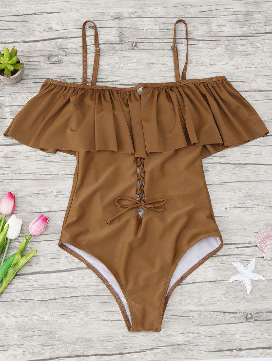 fashion Ruffles Lace Up Backless One Piece Swimwear - BROWN XL