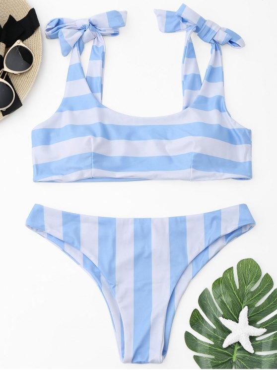 Bas De Bikini Coquin À Rayures Avec Noeud Dans Le Dos - Bleu