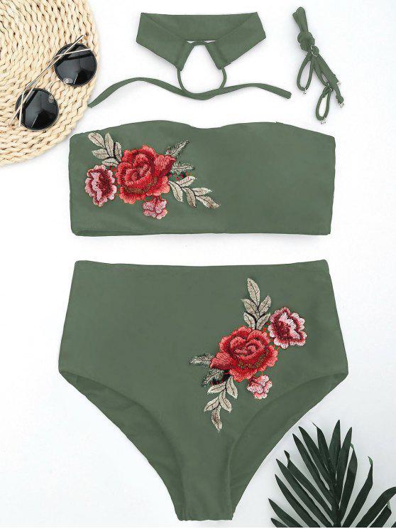 women's Bandeau Floral Applique High Waisted Bikini - ARMY GREEN L
