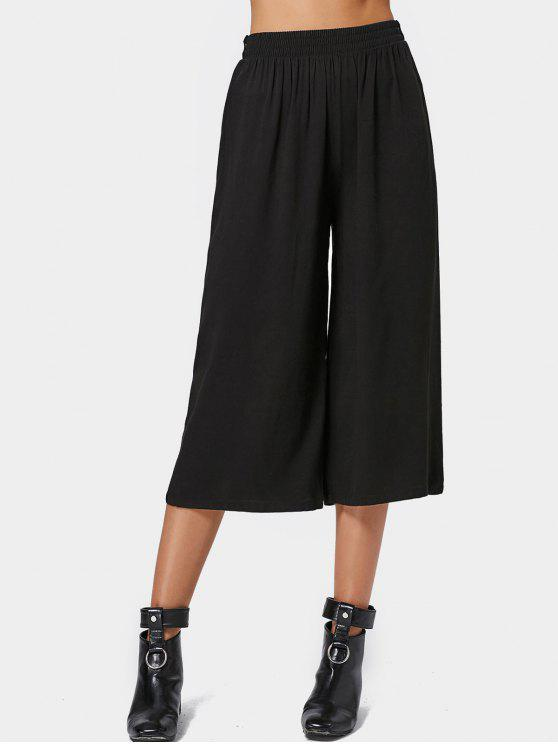chic Capri High Waisted Belted Wide Leg Pants - BLACK ONE SIZE