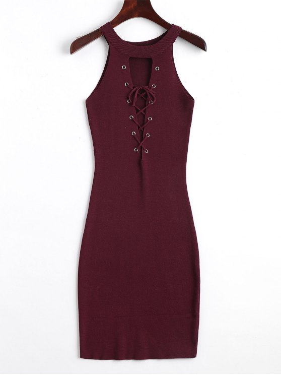 31209b405af6 33% OFF  2019 Knitting Lace Up Bodycon Dress In WINE RED
