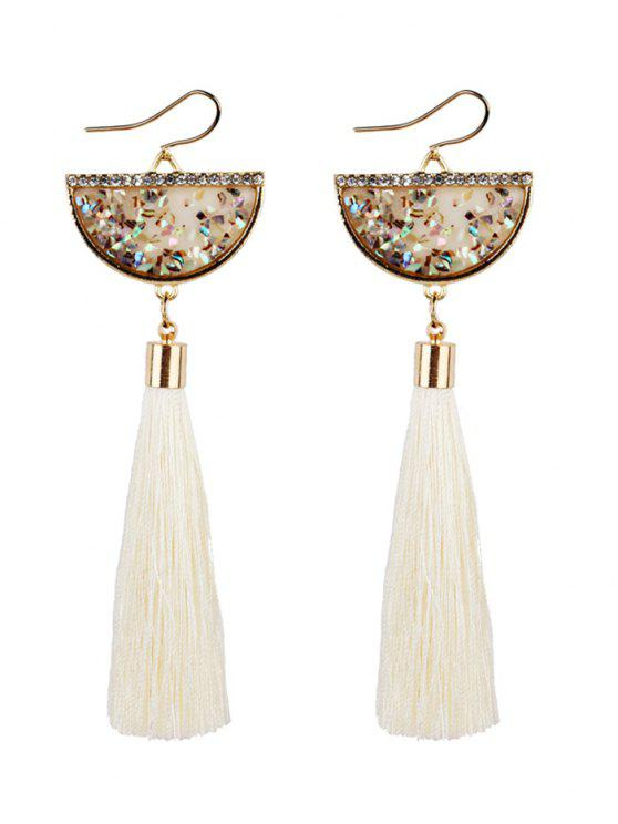 Tassel Pendant Half Round Fish Hook Earrings - Branco