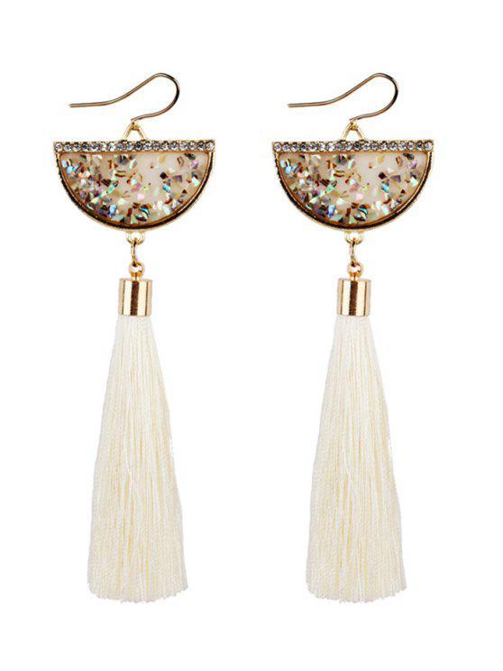 womens Tassel Pendant Half Round Fish Hook Earrings - WHITE