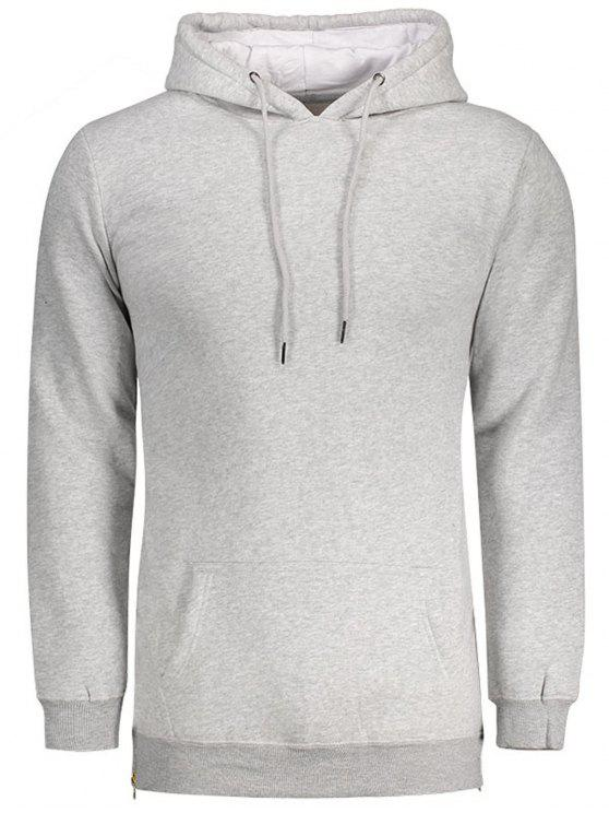 affordable Sides Zipper Hoodie - LIGHT GRAY 2XL