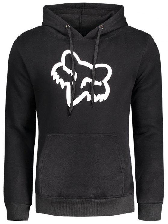 Sweat à Capuche à Motif - Noir 2XL