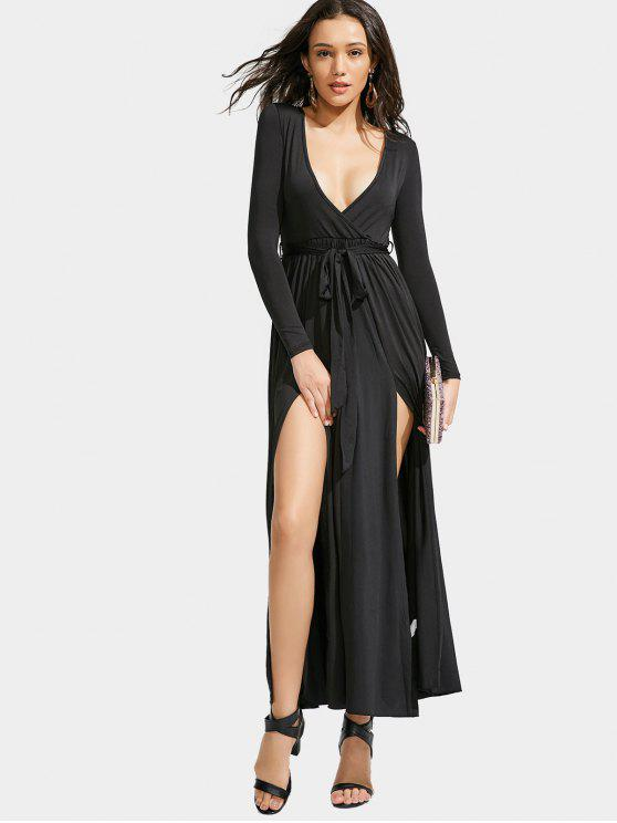 hot Slit Maxi Long Sleeve Dress - BLACK M