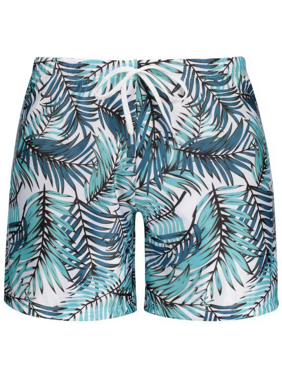 buy Leaf Print Swim Trunks - COLORMIX L