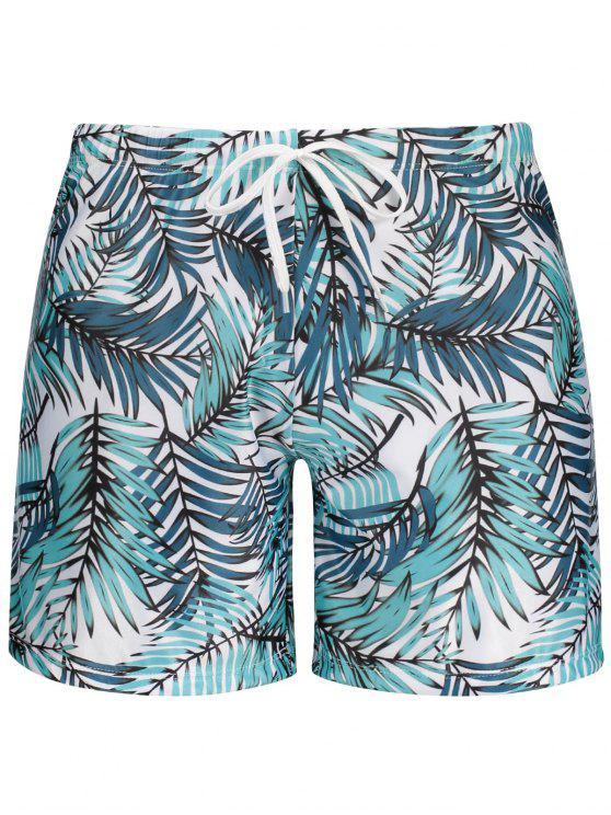 womens Leaf Print Swim Trunks - COLORMIX M