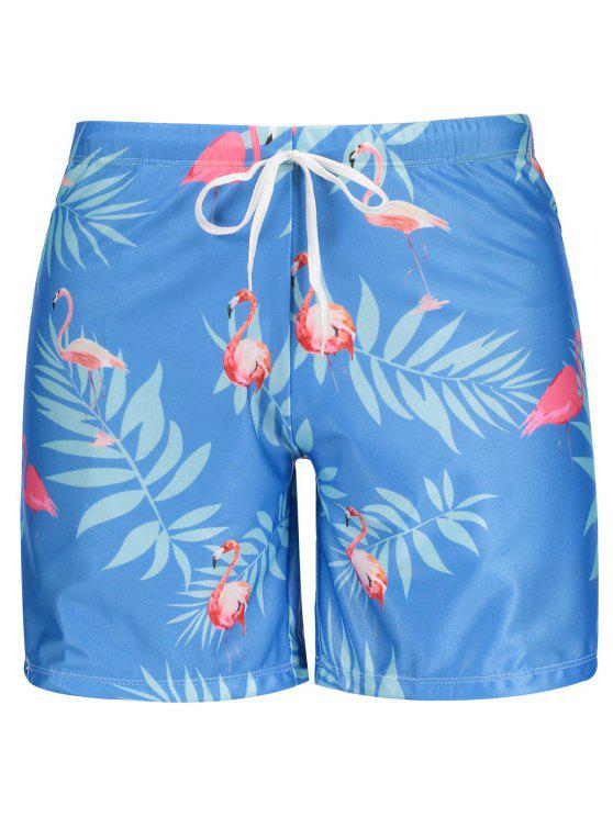 ladies Flamingo Print Swim Trunks - AZURE L