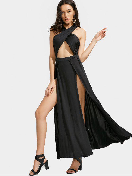 Cutter Crisscross Slit Maxi Dress - Preto M