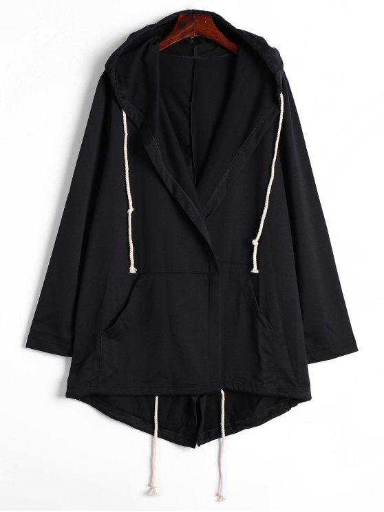 sale Drawstring Hooded Coat with Pockets - BLACK XL