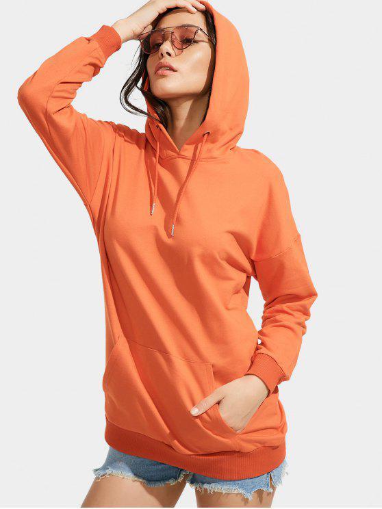 affordable Front Pocket Drop Shoulder Long Hoodie - ORANGE L
