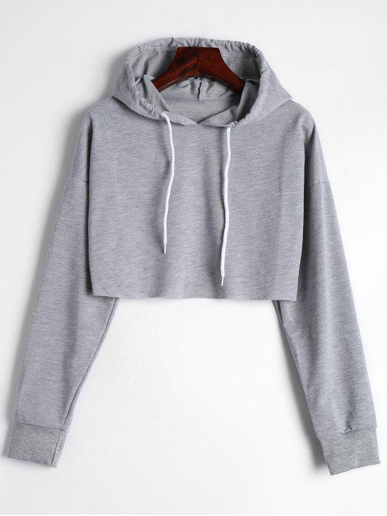 lady Drop Shoulder Drawstring Crop Hoodie - GRAY S