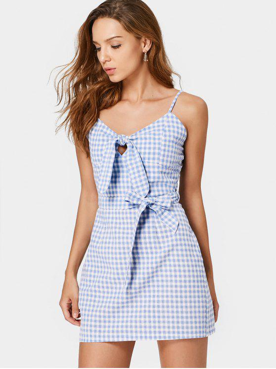 unique Belted Checked Bow Tied Mini Dress - CHECKED L