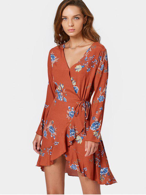 فستان طويلة الأكمام لف طباعة الأزهار مصغر - Orangepink S