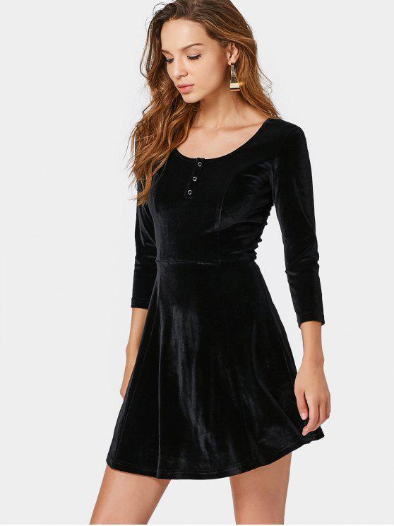 fashion Half Button Crushed Velvet Mini Dress - BLACK L