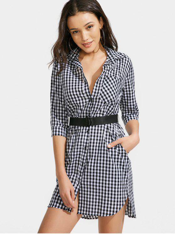 latest Button Up Checked Belted Dress - CHECKED L