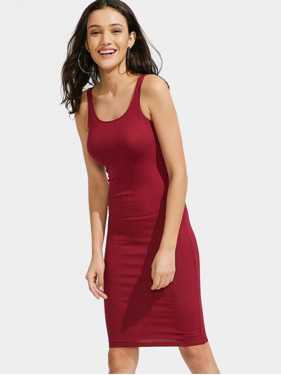 U Neck vestido de punto con nervaduras - Rojo Talla única