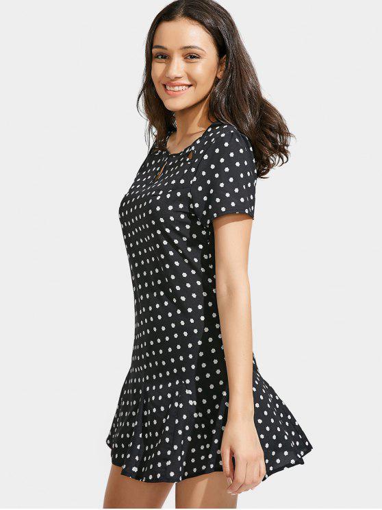 فستان طباعة الأزهار قطع مصغر - أسود L