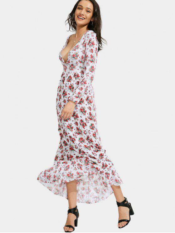 ladies Floral Print Plunging Neck Maxi Dress - FLORAL XL