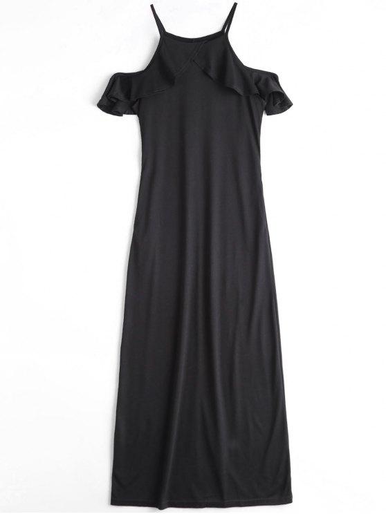 فستان ماكسي كامي باردة الكتف كشكش - أسود L