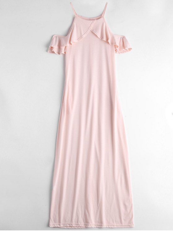 Robe Longue Volantée à Bretelles à épaules Nues - Rose Léger  M