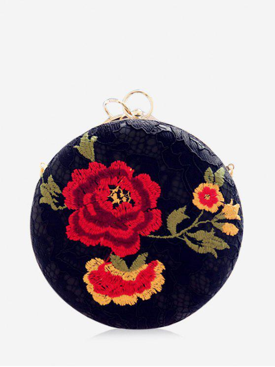 women Metal Ring Embroidered Clutch Bag - BLACK