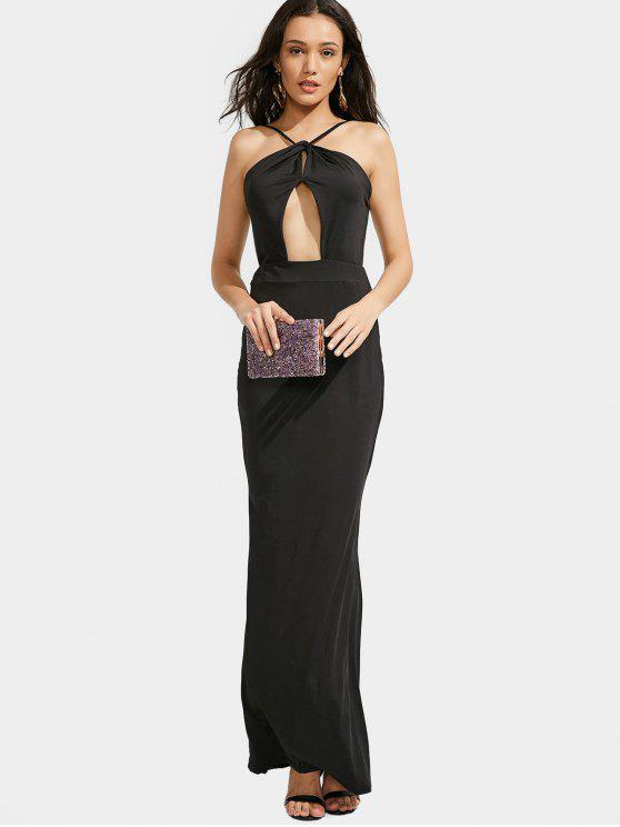 2019 Open Back Slit Cut Out Maxi Prom Dress In Black Xl Zaful
