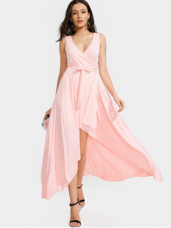 High Low Plunge Wrap Maxi Prom Dress PINK: Dresses 2018 M   ZAFUL