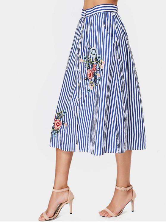affordable Stripes Floral Embroidered Midi Skirt - STRIPE L