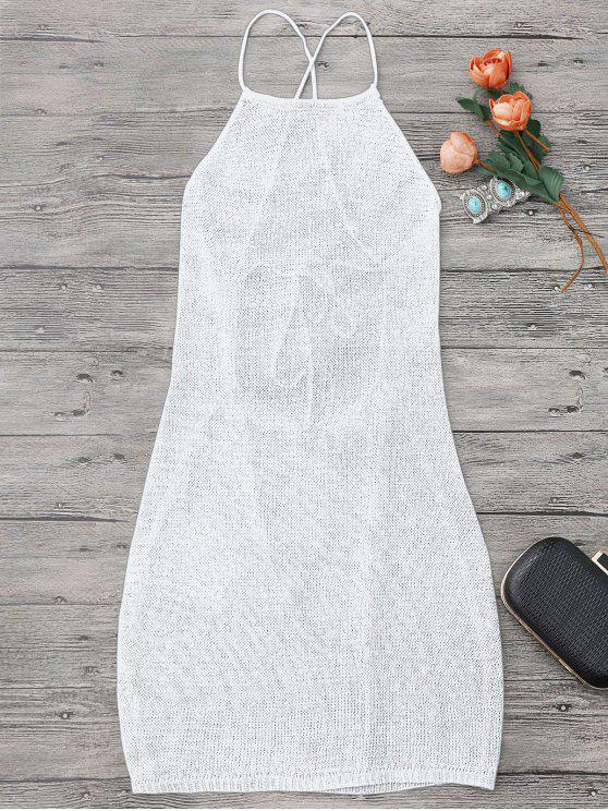 lady Strappy Apron Neck Beach Cover Up Dress - WHITE ONE SIZE