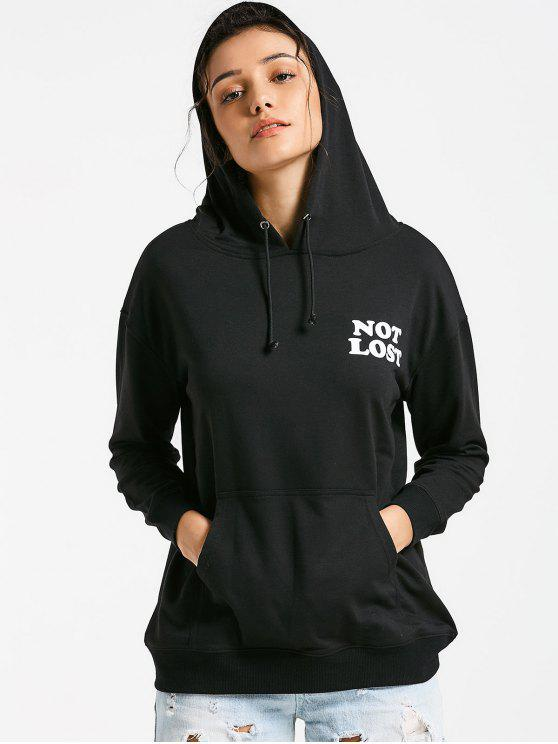 women's Not Lost Graphic Hoodie - BLACK XL