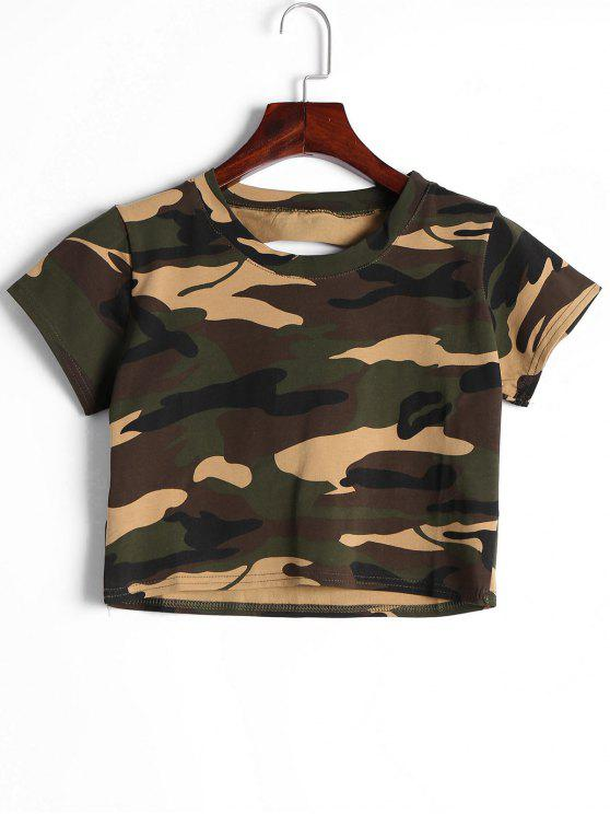 Cut Out Camouflage Crop Tee - Camouflage L