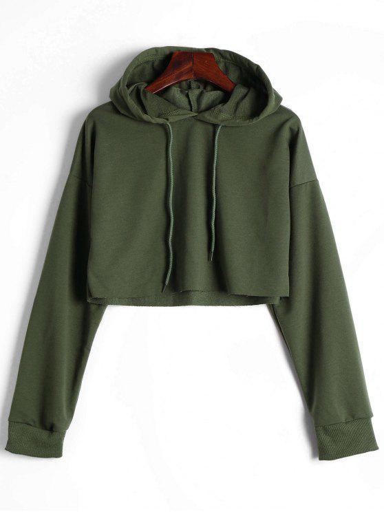 new Drop Shoulder Drawstring Crop Hoodie - ARMY GREEN S