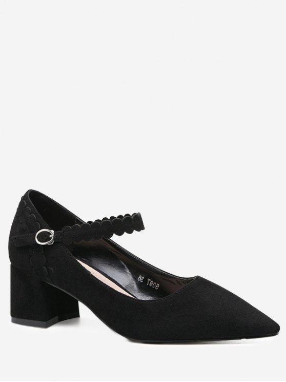 حذاء بحزام حول الكاحل ذو كعب مكعب - أسود 39