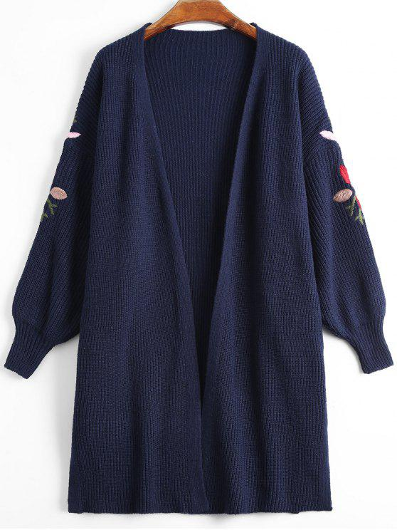 affordable Lantern Sleeve Floral Embroidered Slit Cardigan - PURPLISH BLUE ONE SIZE