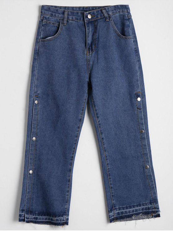 جينز جانب الزر عالية الخصر بقصة واسعة - ازرق L