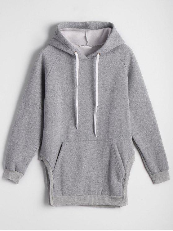 Übergröße Hoodie mit Fronttasche und seitlichem Schlitz - Grau Eine Größe