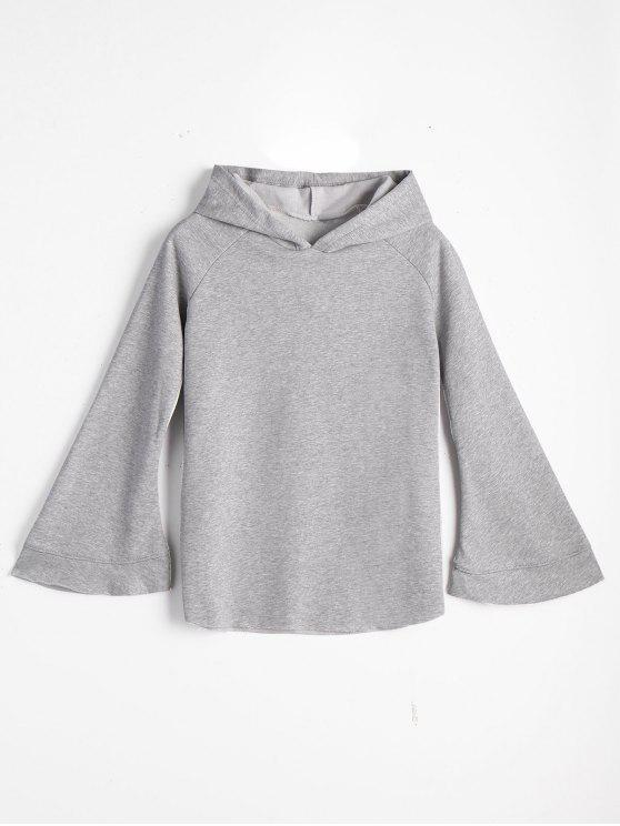 best Casual Loose Flare Sleeve Hoodie - GRAY ONE SIZE